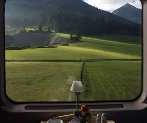 train, green, and travel image