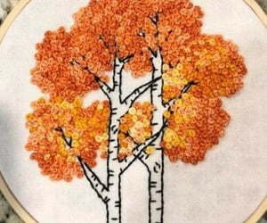 birch, embroidery, and flowers image