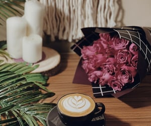 coffee, flower, and flowers image