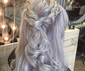blonde hair, hairstyle, and plait image