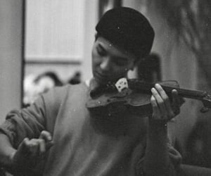 black and white, violin, and kpop image