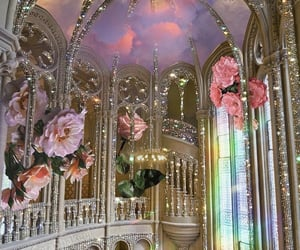 Fantasy glitter castle with roses