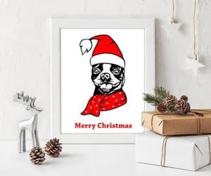 boston terrier, christmas gift, and christmas sign image