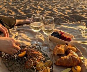 beach, picnic, and wine image