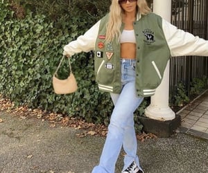 beige, streetwear, and white crop top image
