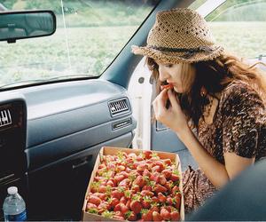 girl, strawberries, and vintage image