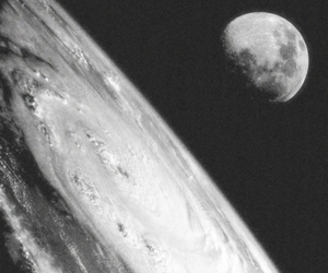 black and white, earth, and moon image