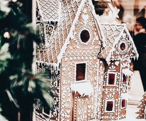christmas, winter, and gingerbread house image