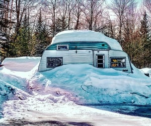 camping, Camper, and snow image