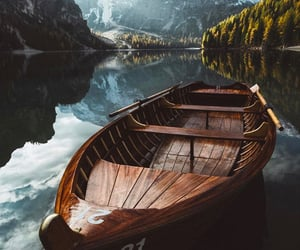 boat, mountains, and lake image