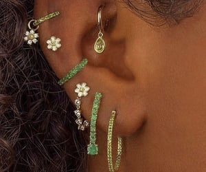 earrings, green, and piercing image
