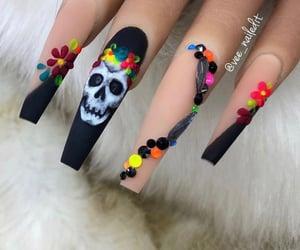 black nails, nails, and acrylic nails image