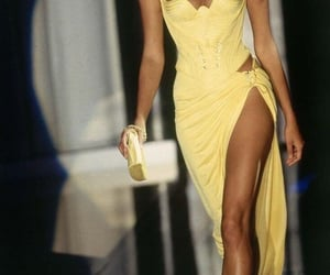 dress, yellow, and Versace image