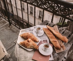bread, breakfast, and coffe image