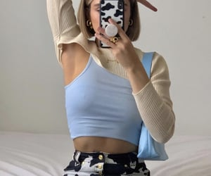everyday look, blue crop top, and cute summer outfit image