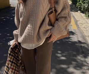 scarf, everyday look, and brown sweater image