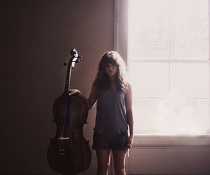 cello, girl, and hipster image