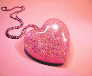 giant pink glitter heart necklace