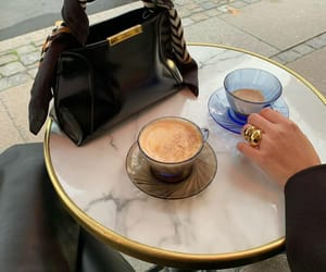 black coat, coffee, and fashion image
