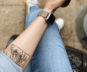 coffee, levis, and applewatch image