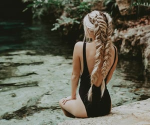 blonde, fishtail, and apart image