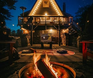 baby, cabin, and campfire image