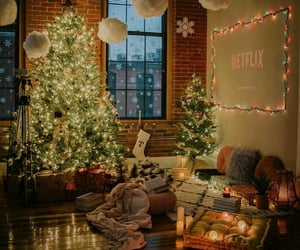 baby, christmas tree, and cuddle image