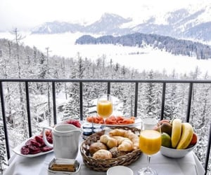 snow, breakfast, and landscape image