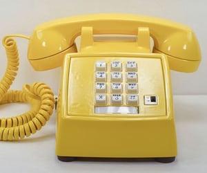 telephone, yellow, and retro image