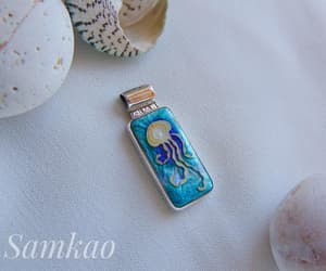 sterling silver, jellyfish pendant, and hot enamel pendant image