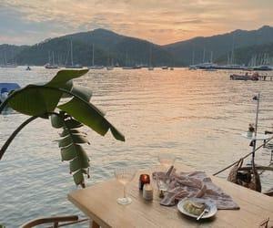 sunset, beach, and dinner image