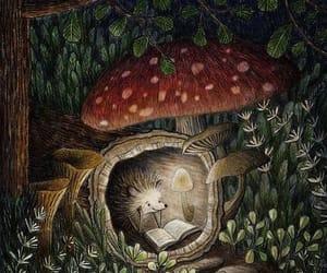 hedgehog, illustration, and mushroom image