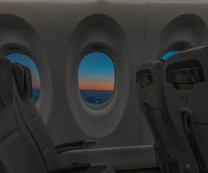 flight, plane, and sky image