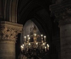 chandelier, dark, and architecture image
