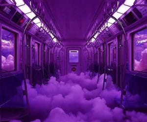 purple, clouds, and train image