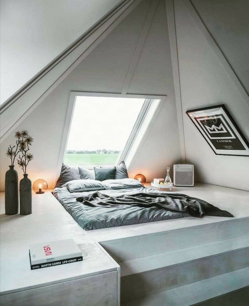 bedroom, indoor design, and minimalistic bedroom image