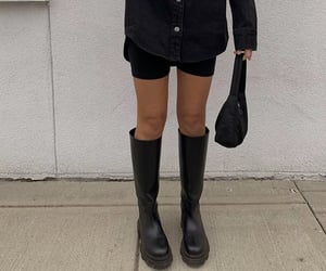 knee high boots, everyday look, and bicycle shorts image