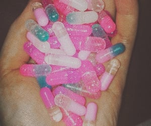 happy, pink, and happy pills image