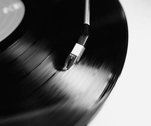 music, black and white, and record image