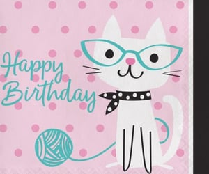 happy birthday and cat pink image