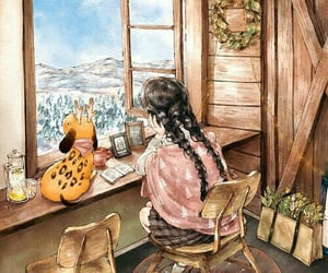 art, illustration, and winter image