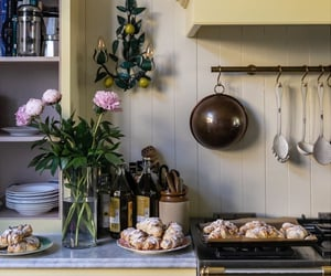 kitchen, decor, and flowers image