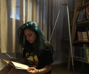 blue hair, books, and girly image