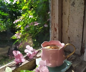 coffee, cafe, and flowers image