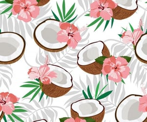 🌺Seamless Pattern Coconut Piece And Palm Leaves With Pink Hibiscus