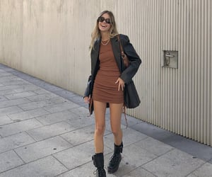 brown dress, everyday look, and chic elegant image