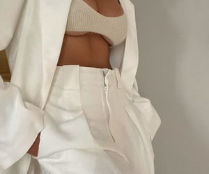 white crop top, white pants trousers, and outfit inspiration inspo image