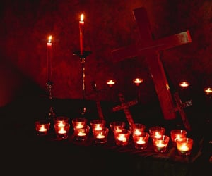 candle, cross, and dark image