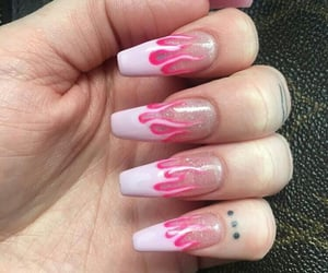 nails, pink, and flames image