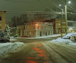 town, snow, and street image